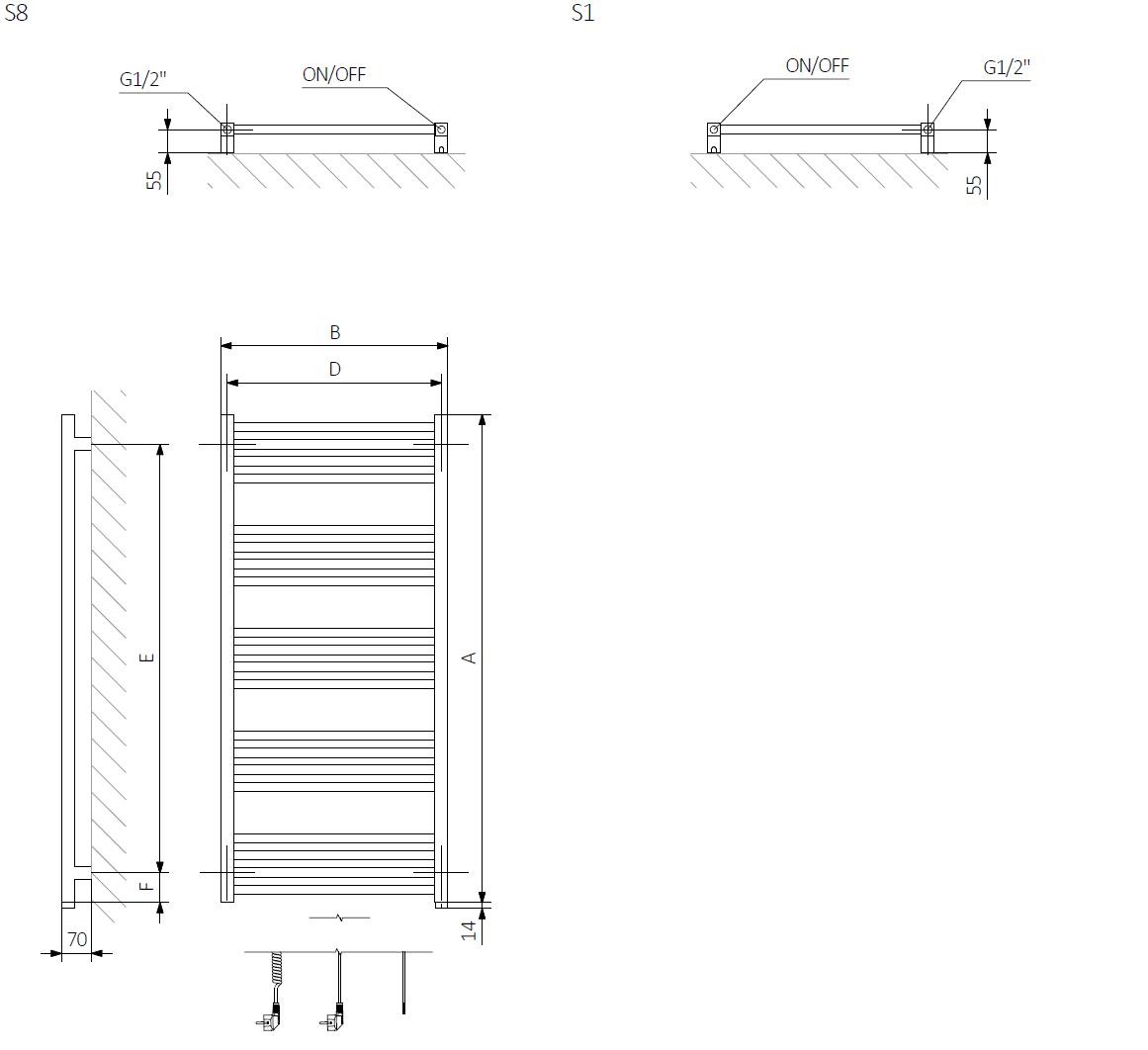 A - Výška B - Šířka C1-C5 - Vzdálenost mezi přípojkami D - Vzdálenost mezi držáky ve vodorovném směru E - Vzdálenost vertikálních prvků ve svislé poloze F - Vzdálenost od spodní osy spojovacích prvků ke spodnímu okraji kolektoru